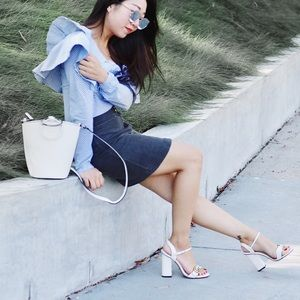 Tops - Blue and white stripped one shoulder blouse.